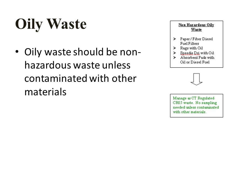 Oily Waste Oily waste should be non- hazardous waste unless contaminated with other materials