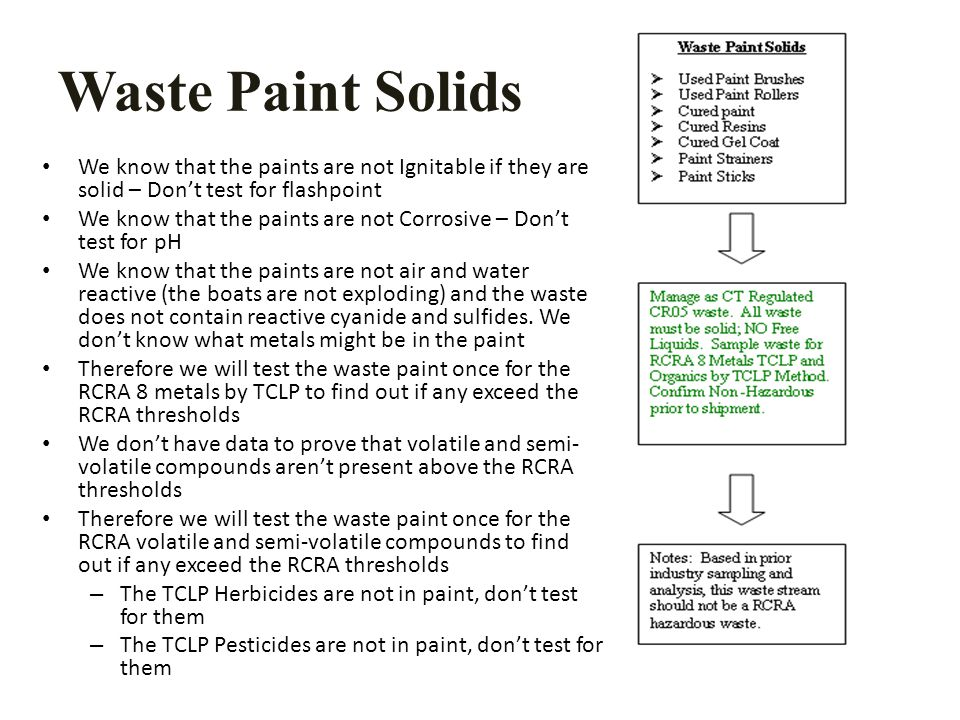 Waste Paint Solids We know that the paints are not Ignitable if they are solid – Don't test for flashpoint We know that the paints are not Corrosive – Don't test for pH We know that the paints are not air and water reactive (the boats are not exploding) and the waste does not contain reactive cyanide and sulfides.
