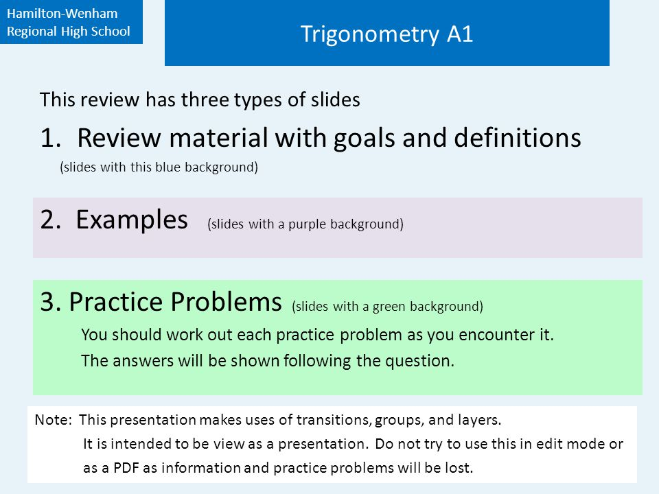 Contents and Quick Links Trigonometry Review I II III IV Right Triangle Trigonometry Angles and Radian Measure The Six Trig Functions The Inverse Trig Functions
