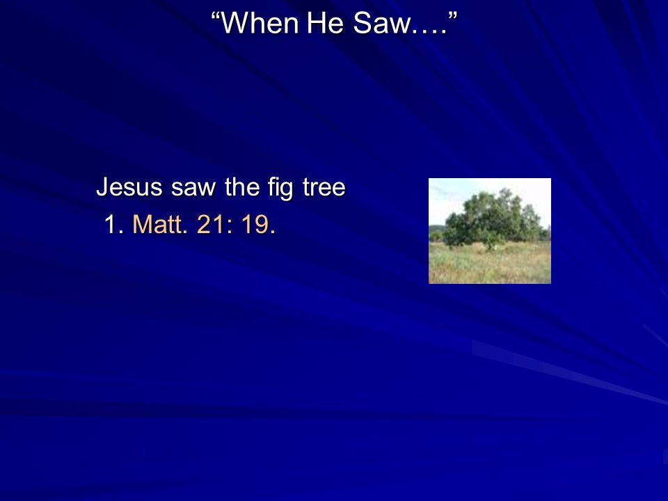 When He Saw…. Jesus saw the fig tree 1. Matt. 21: 19. 1. Matt. 21: 19.