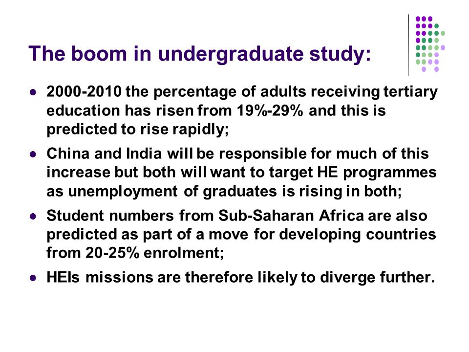 The growth of mass education This may take the form of mass education with significantly increasing sizes of HEI; Distance education is seen as a panacea in some areas with the increasing promotion of Massive Open On-line Courses (MOOCs) currently gaining much publicity; HEIs including Harvard, MIT and the UK OU offer free on-line content, with some offering peer review opportunities for assignments; Currently most MOOCs don't offer assessment or credit opportunities and retention can be a significant problem.