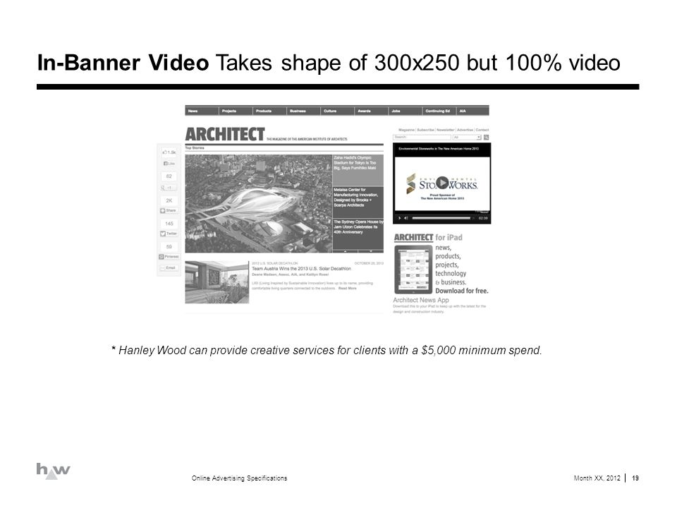 In-Banner Video Takes shape of 300x250 but 100% video Month XX, 2012Online Advertising Specifications 19 * Hanley Wood can provide creative services for clients with a $5,000 minimum spend.