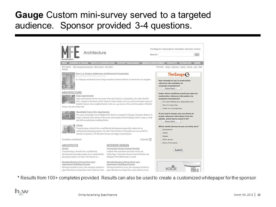 Gauge Custom mini-survey served to a targeted audience.