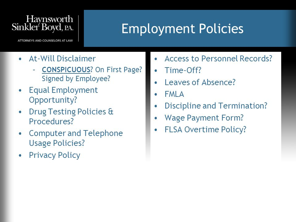 Employment Policies At-Will Disclaimer –CONSPICUOUS.