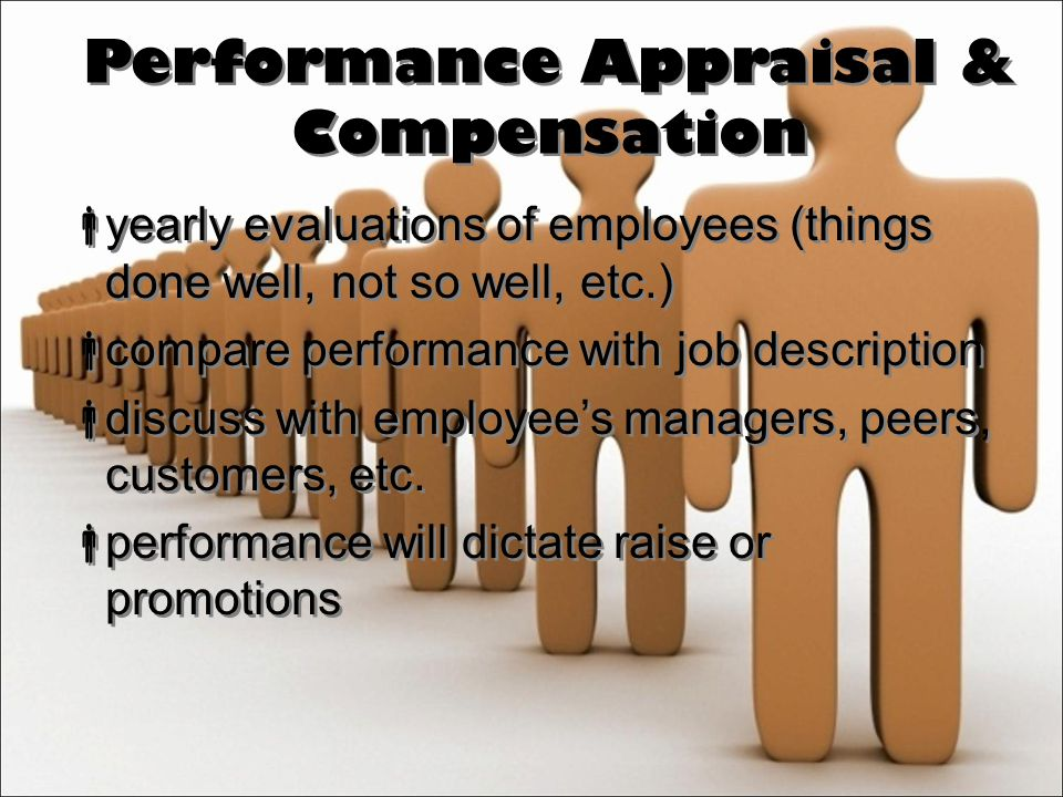 Performance Appraisal & Compensation  yearly evaluations of employees (things done well, not so well, etc.)  compare performance with job description  discuss with employee's managers, peers, customers, etc.