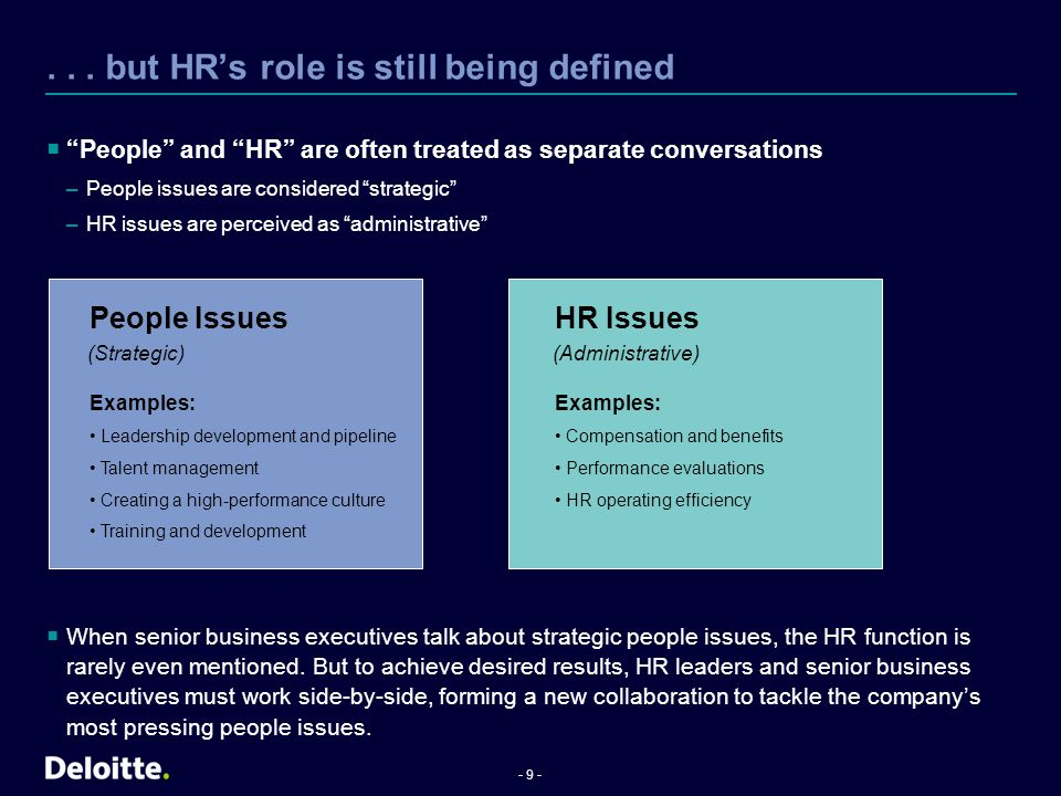 - 20 - Getting strategic about people  HR is often out of the loop on strategic issues –Percentage of companies that rarely or never consult their senior HR team on key business issues Mergers and acquisitions (63%) Compliance and regulation (26%) Talent (25%)  Only 14% of HR leaders believe HR is currently perceived as a strategic, value-adding function –At large companies, the figure is even lower (less than 10%) –However, 40% expect perceptions to improve in three to five years  Senior business executives have high expectations –95% expect HR to be perceived as a strategic, value- adding function within the next three to five years What is HR doing to close the gap.