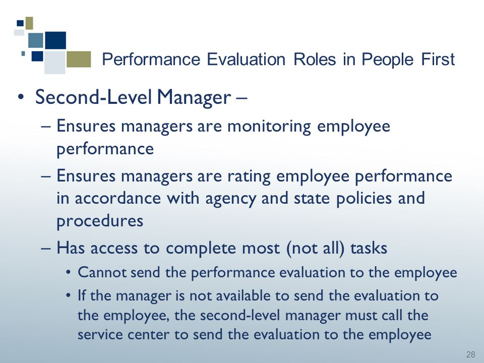 28 Performance Evaluation Roles in People First Second-Level Manager – –Ensures managers are monitoring employee performance –Ensures managers are rat