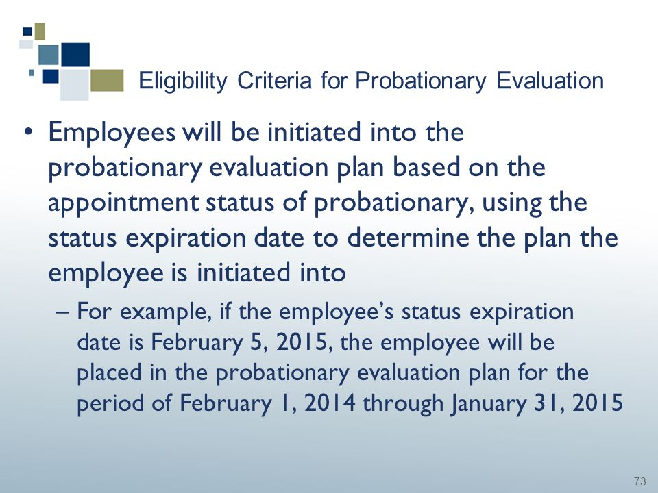 73 Eligibility Criteria for Probationary Evaluation Employees will be initiated into the probationary evaluation plan based on the appointment status