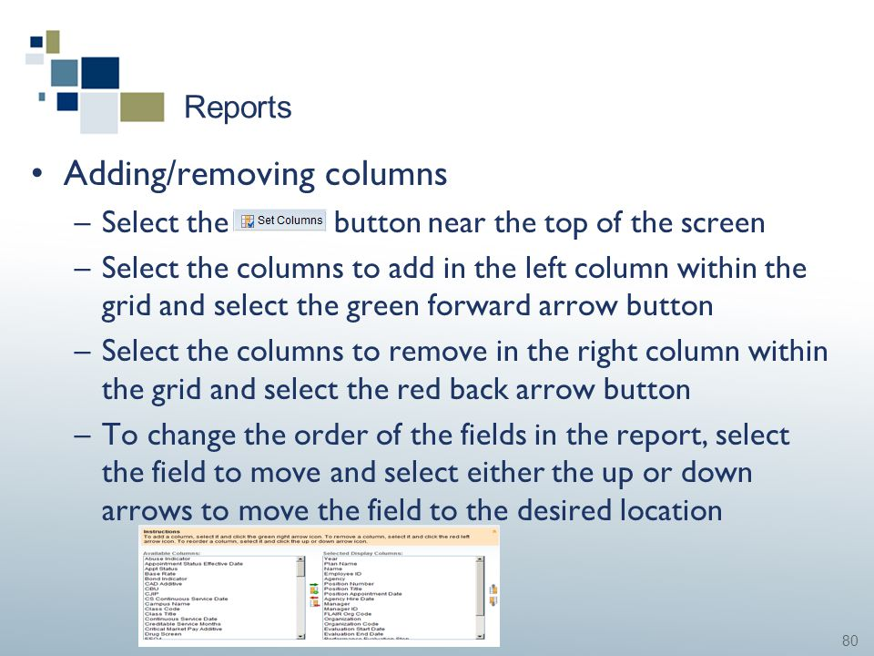 80 Reports Adding/removing columns –Select the button near the top of the screen –Select the columns to add in the left column within the grid and sel