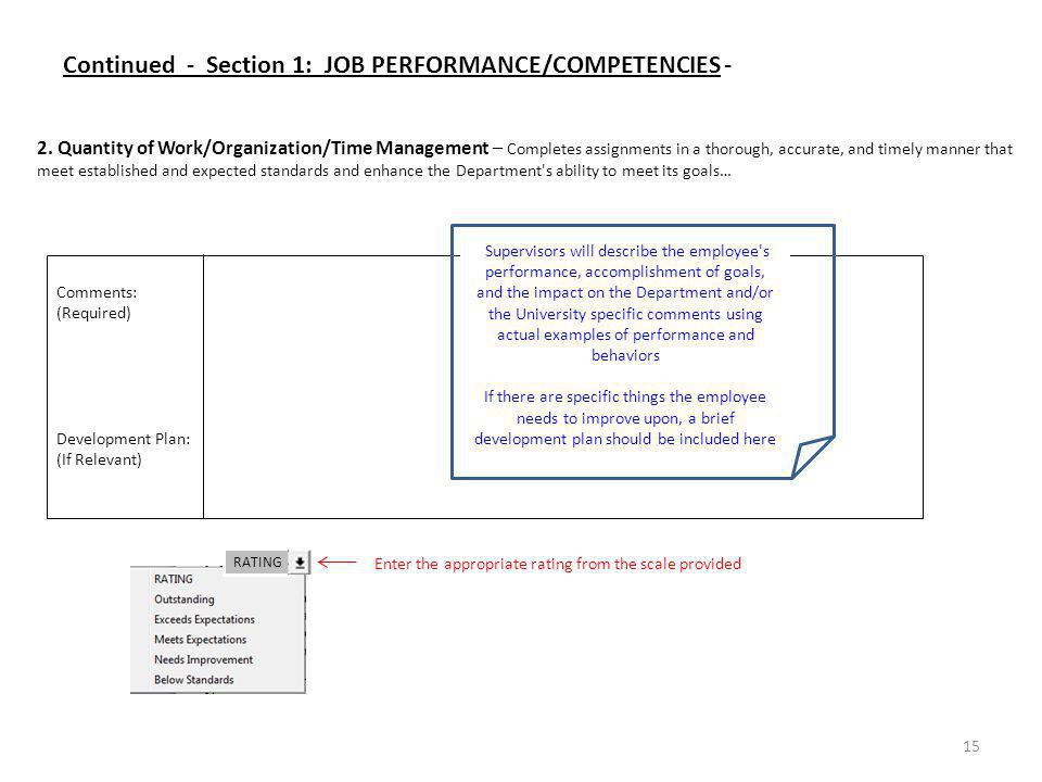 Comments: (Required) Development Plan: (If Relevant) 15 2. Quantity of Work/Organization/Time Management – Completes assignments in a thorough, accura