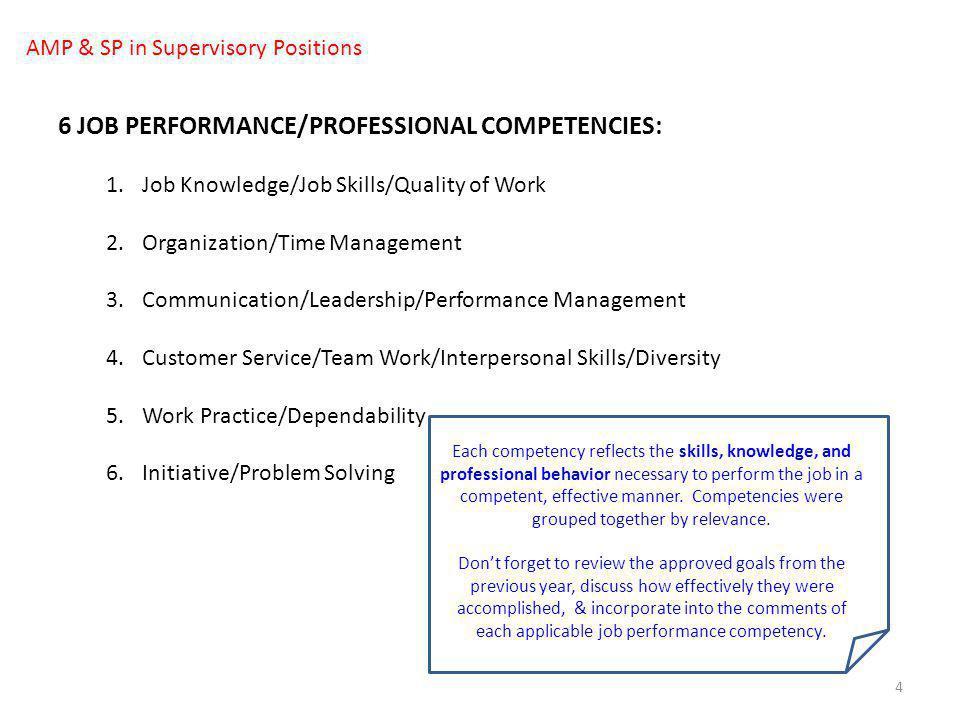 4 6 JOB PERFORMANCE/PROFESSIONAL COMPETENCIES: 1.Job Knowledge/Job Skills/Quality of Work 2.Organization/Time Management 3.Communication/Leadership/Pe