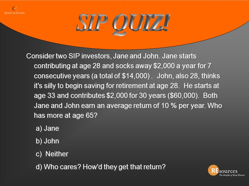 Consider two SIP investors, Jane and John. Jane starts contributing at age 28 and socks away $2,000 a year for 7 consecutive years (a total of $14,000