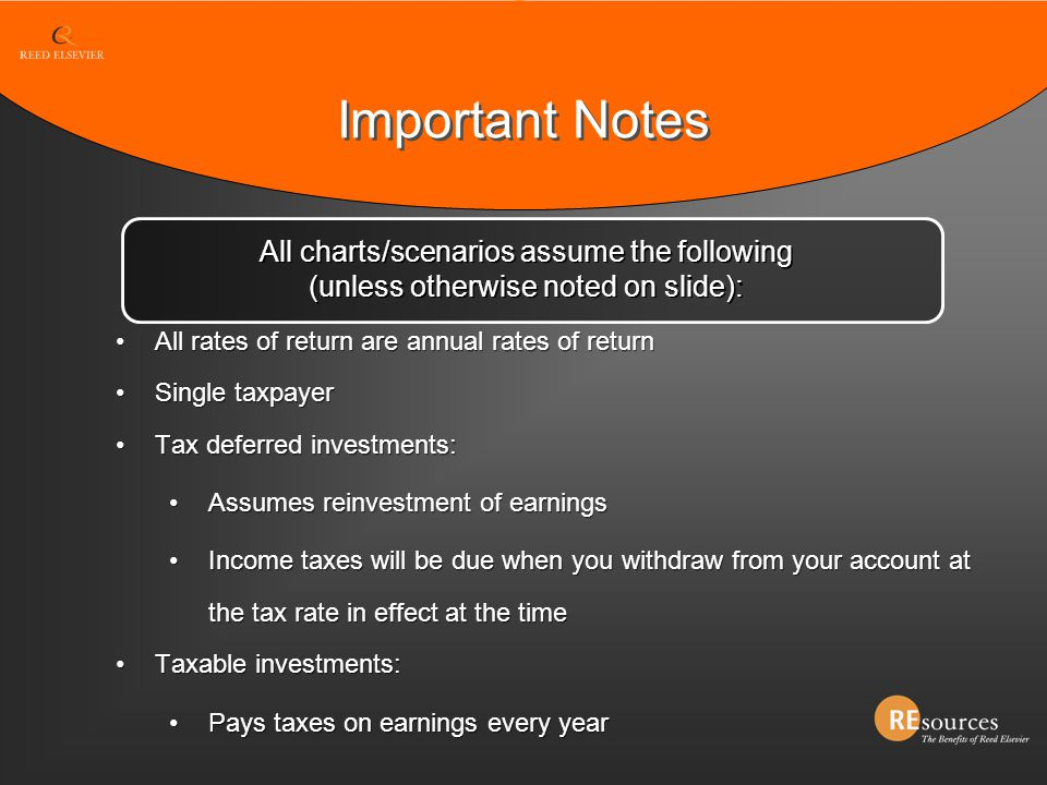 Important Notes All rates of return are annual rates of return Single taxpayer Tax deferred investments: Assumes reinvestment of earnings Income taxes