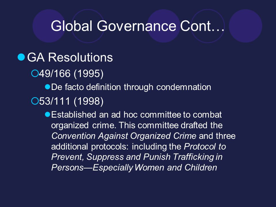 Global Governance Cont… GA Resolutions  49/166 (1995) De facto definition through condemnation  53/111 (1998) Established an ad hoc committee to combat organized crime.