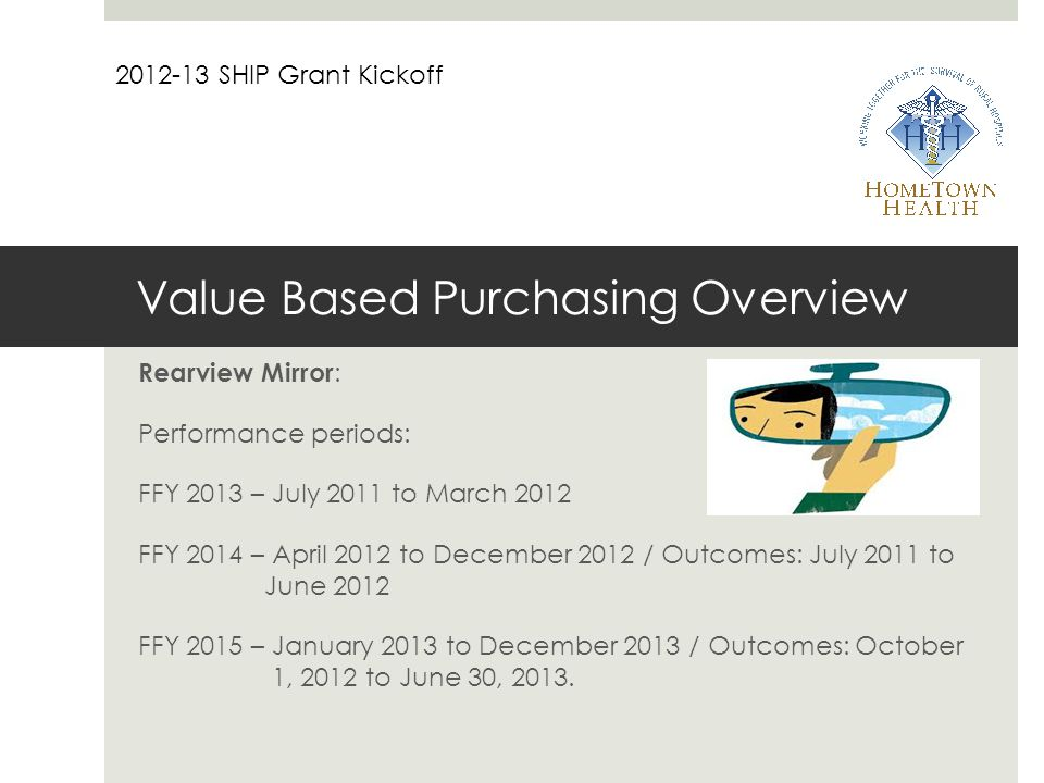 Value Based Purchasing Overview Rearview Mirror : Performance periods: FFY 2013 – July 2011 to March 2012 FFY 2014 – April 2012 to December 2012 / Outcomes: July 2011 to June 2012 FFY 2015 – January 2013 to December 2013 / Outcomes: October 1, 2012 to June 30, 2013.