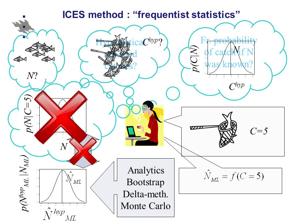 Fr.probability of catch if N was known. ICES method : frequentist statistics N?N.