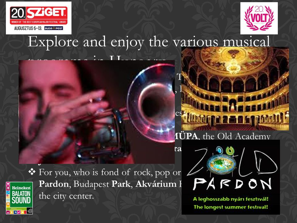 Explore and enjoy the various musical programs in Hungary  Hungary is the country of festivals.
