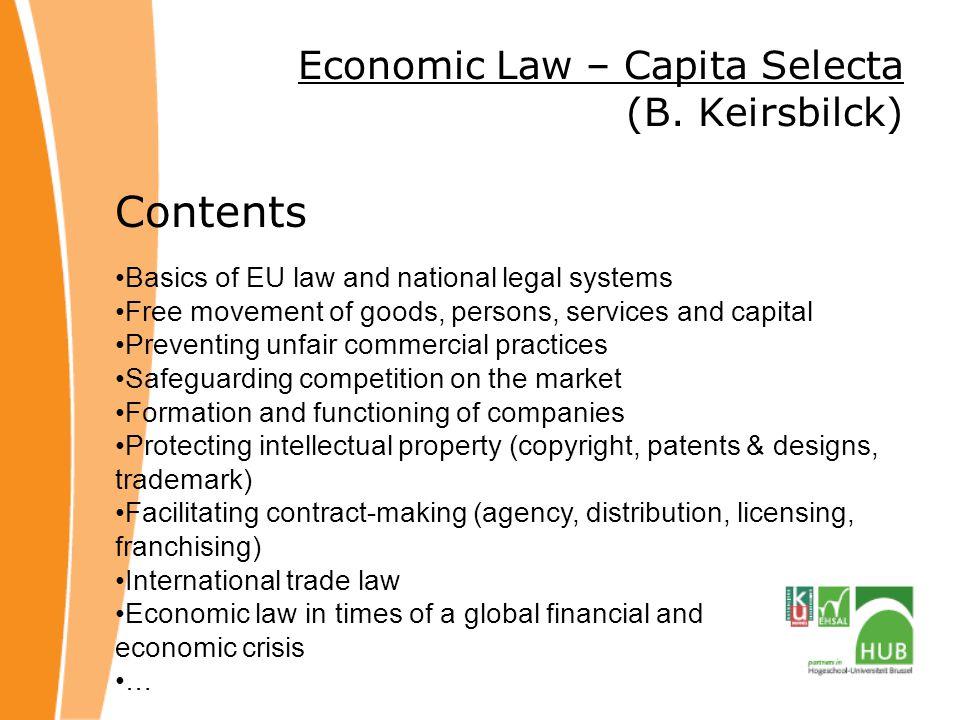 Economic Law – Capita Selecta (B.