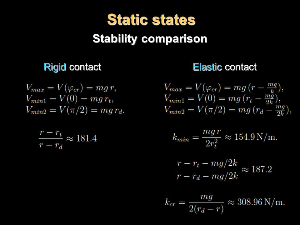 Static states Stability comparison Rigid contact Elastic contact Rigid contact Elastic contact