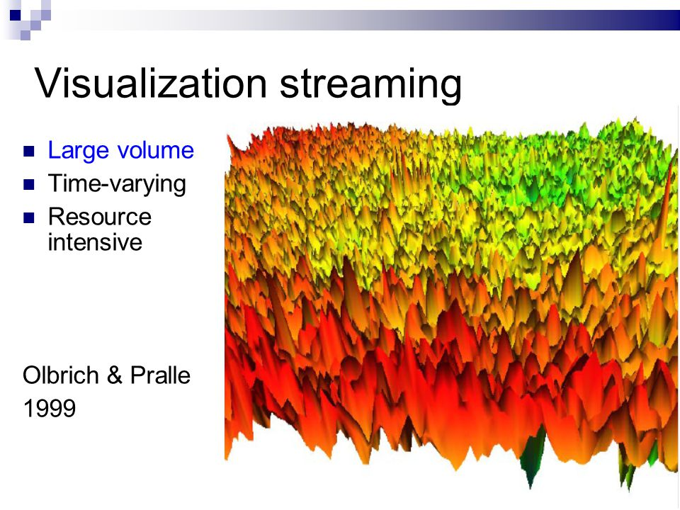 16/ Visualization streaming Large volume Time-varying Resource intensive Olbrich & Pralle 1999