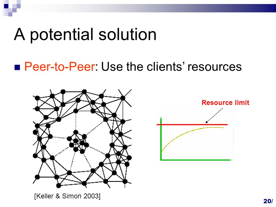 A potential solution Peer-to-Peer: Use the clients' resources Resource limit [Keller & Simon 2003] 20/