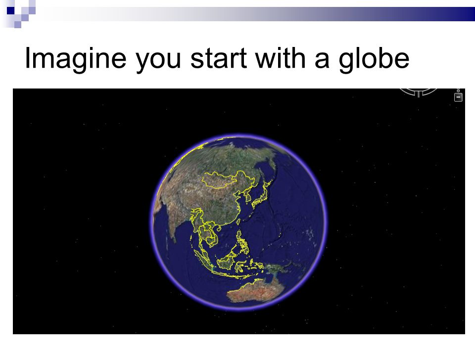 Imagine you start with a globe