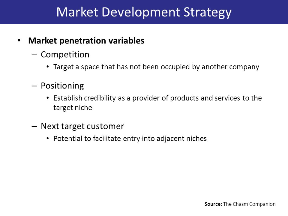 Market penetration variables – Competition Target a space that has not been occupied by another company – Positioning Establish credibility as a provider of products and services to the target niche – Next target customer Potential to facilitate entry into adjacent niches Market Development Strategy Source: The Chasm Companion