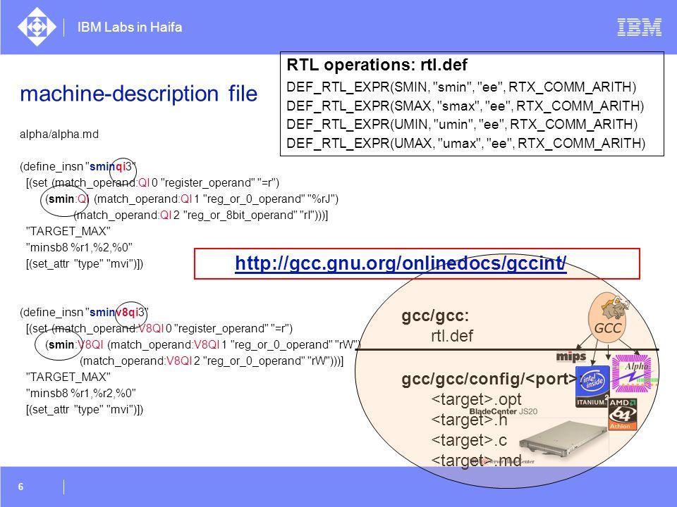 IBM Labs in Haifa 27 Auto-Vectorization Transformation  original serial loop: for(i=0; i<N; i++){ a[i] = a[i] + b[i]; }  loop in vector notation: for (i=0; i<N; i+=VF){ a[i:i+VF-1] = a[i:i+VF-1] + b[i:i+VF-1]; }  loop in vector notation: for (i=0; i<(N-N%VF); i+=VF){ a[i:i+VF-1] = a[i:i+VF-1] + b[i:i+VF-1]; } for ( ; i < N; i++) { a[i] = a[i] + b[i]; } vectorization  Modify loop bound - strip-mine - create epilog loop  Replace scalar statements with vector statements vectorized loop epilog loop