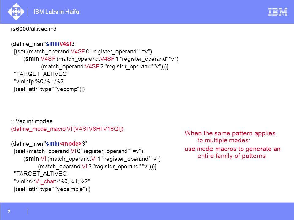 IBM Labs in Haifa 60 Mixed data types  short b[N]; int a[N]; for (i=0; i<N; i++) a[i] = (int) b[i];  Unpack