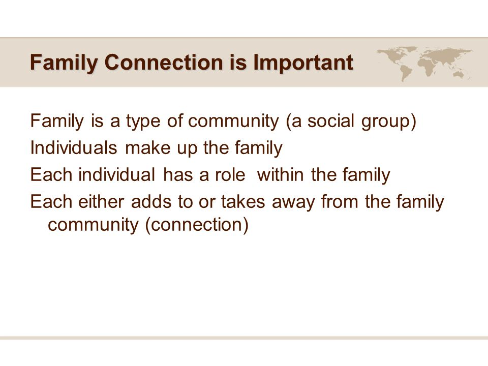 Family Connection is Important Family is a type of community (a social group) Individuals make up the family Each individual has a role within the family Each either adds to or takes away from the family community (connection)