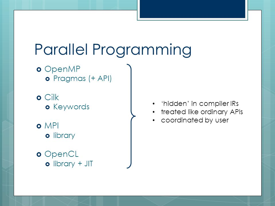 Parallel Programming  OpenMP  Pragmas (+ API)  Cilk  Keywords  MPI  library  OpenCL  library + JIT 'hidden' in compiler IRs treated like ordin