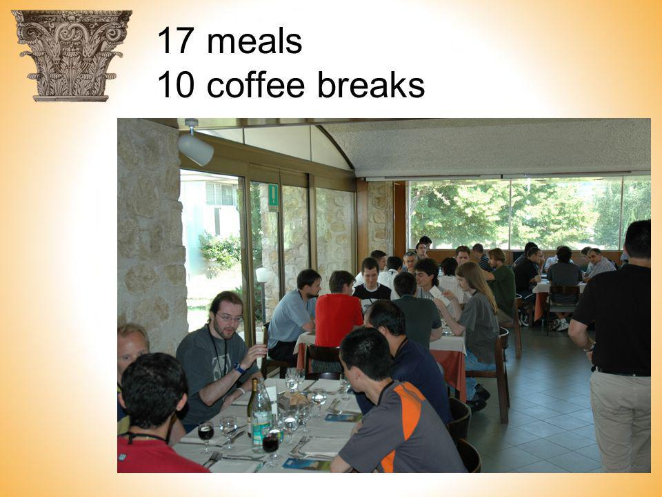17 meals 10 coffee breaks