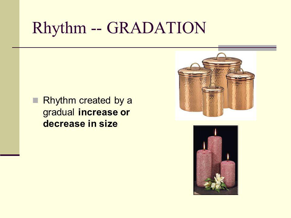 Rhythm -- GRADATION Rhythm created by a gradual increase or decrease in size