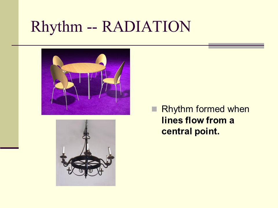 Rhythm -- RADIATION Rhythm formed when lines flow from a central point.