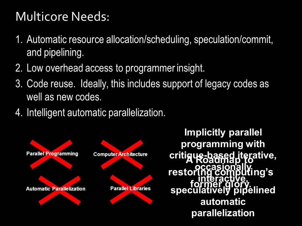 Multicore Needs: 1.Automatic resource allocation/scheduling, speculation/commit, and pipelining.