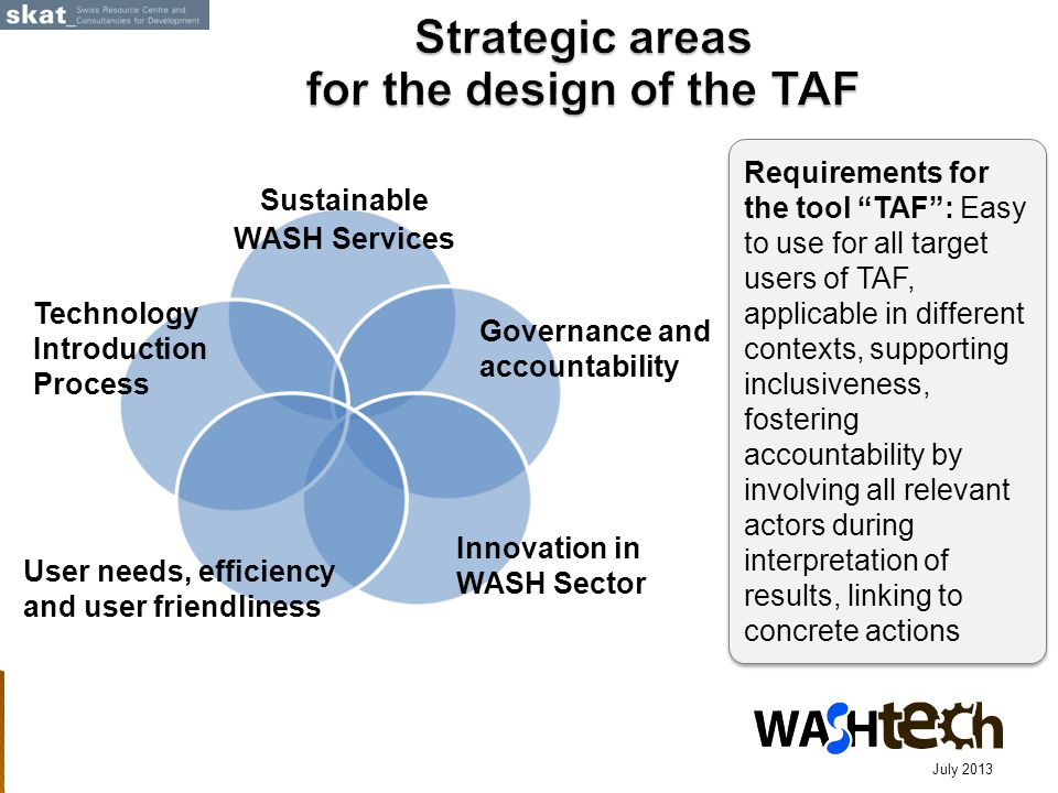 Requirements for the tool TAF : Easy to use for all target users of TAF, applicable in different contexts, supporting inclusiveness, fostering accountability by involving all relevant actors during interpretation of results, linking to concrete actions July 2013 Technology Introduction Process Sustainable WASH Services Governance and accountability User needs, efficiency and user friendliness Innovation in WASH Sector