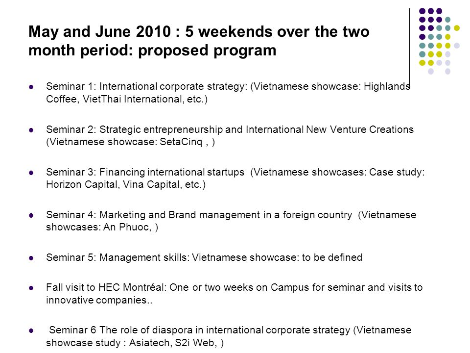 May and June 2010 : 5 weekends over the two month period: proposed program Seminar 1: International corporate strategy: (Vietnamese showcase: Highland