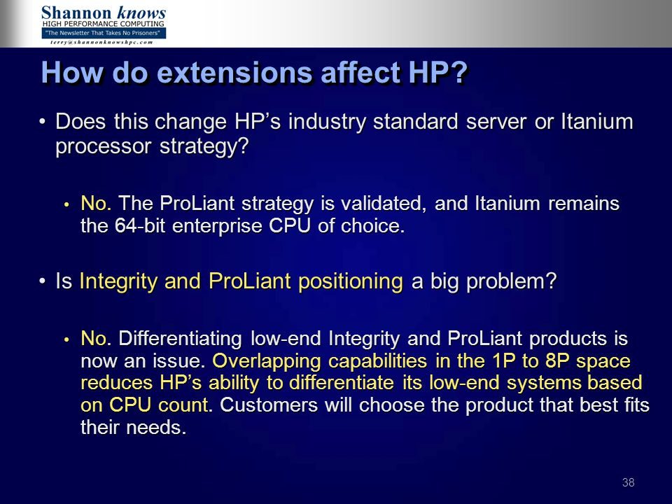 38 How do extensions affect HP.