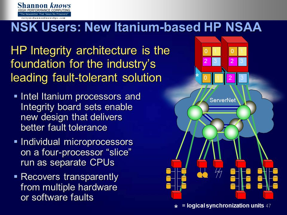 47 NSK Users: New Itanium-based HP NSAA  Intel Itanium processors and Integrity board sets enable new design that delivers better fault tolerance  Individual microprocessors on a four-processor slice run as separate CPUs  Recovers transparently from multiple hardware or software faults HP Integrity architecture is the foundation for the industry's leading fault-tolerant solution