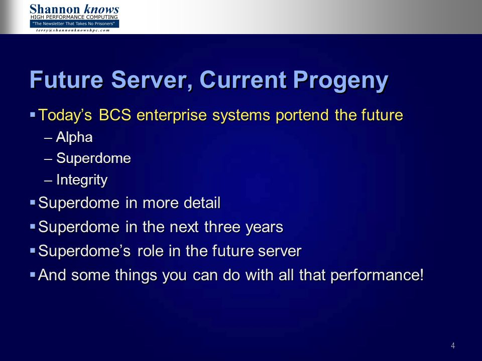 35 Gating factors in future server design  Rely on standards and existing parts where possible  Heterogeneous OS is critical to server consolidation  Essential to AE plans  Most customers run multiple OSes and platforms  HP must accommodate –UNIX –Linux –OpenVMS –NSK –Windows
