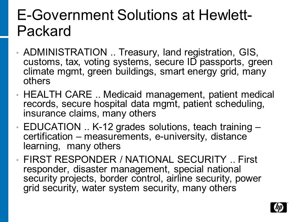 E-Government Solutions at Hewlett- Packard ADMINISTRATION..
