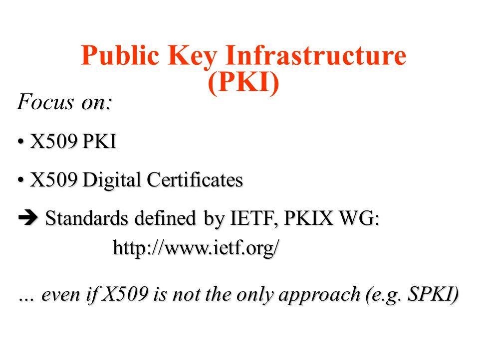 Public Key Infrastructure (PKI) on: Focus on: X509 PKI X509 PKI X509 Digital Certificates X509 Digital Certificates  Standards defined by IETF, PKIX WG: http://www.ietf.org/ http://www.ietf.org/ … even if X509 is not the only approach (e.g.