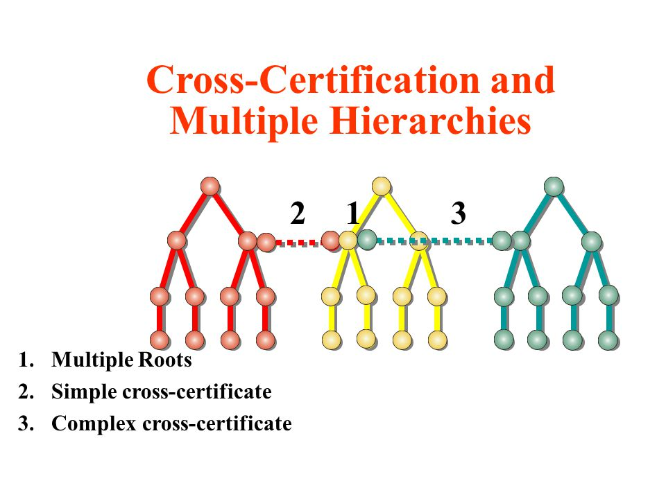 123 1.Multiple Roots 2.Simple cross-certificate 3.Complex cross-certificate Cross-Certification and Multiple Hierarchies