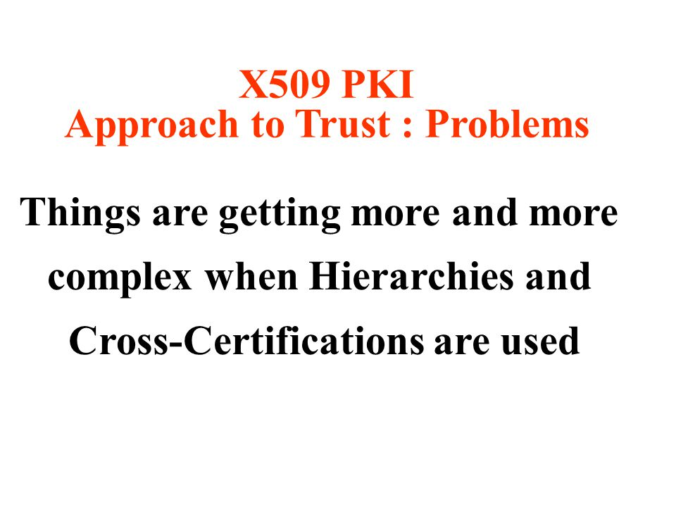 Things are getting more and more complex when Hierarchies and Cross-Certifications are used X509 PKI Approach to Trust : Problems