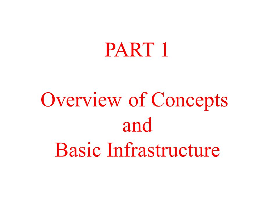 PART 1 Overview of Concepts and Basic Infrastructure