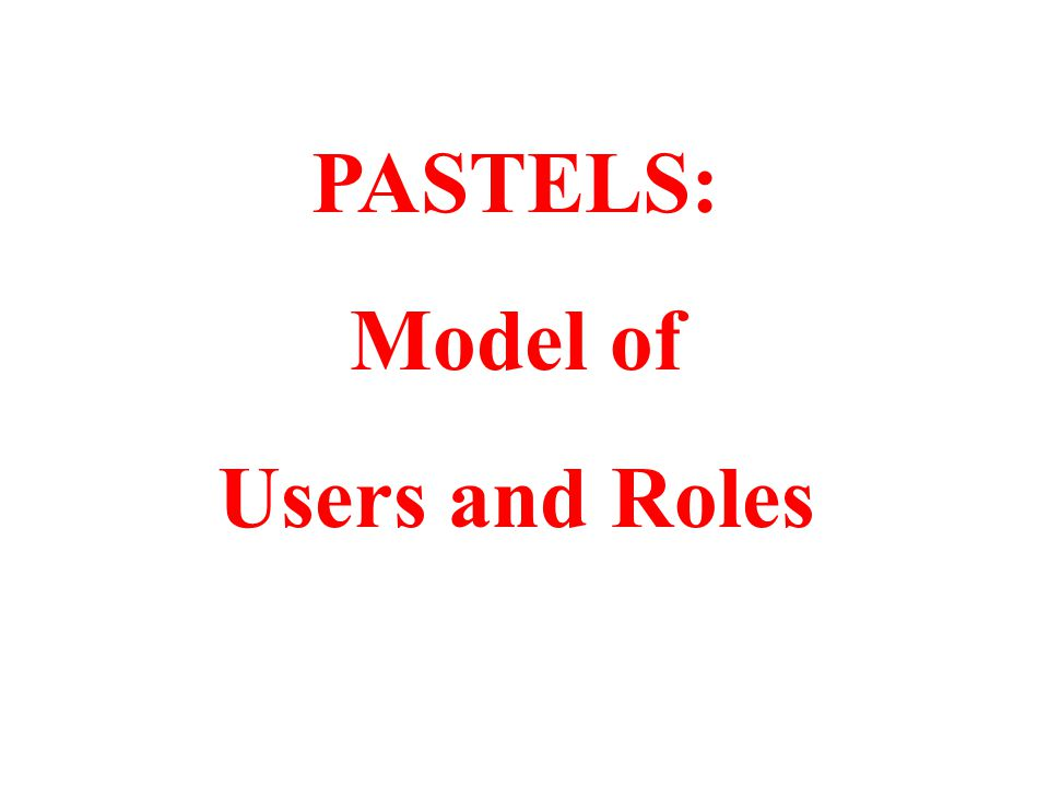 PASTELS: Model of Users and Roles