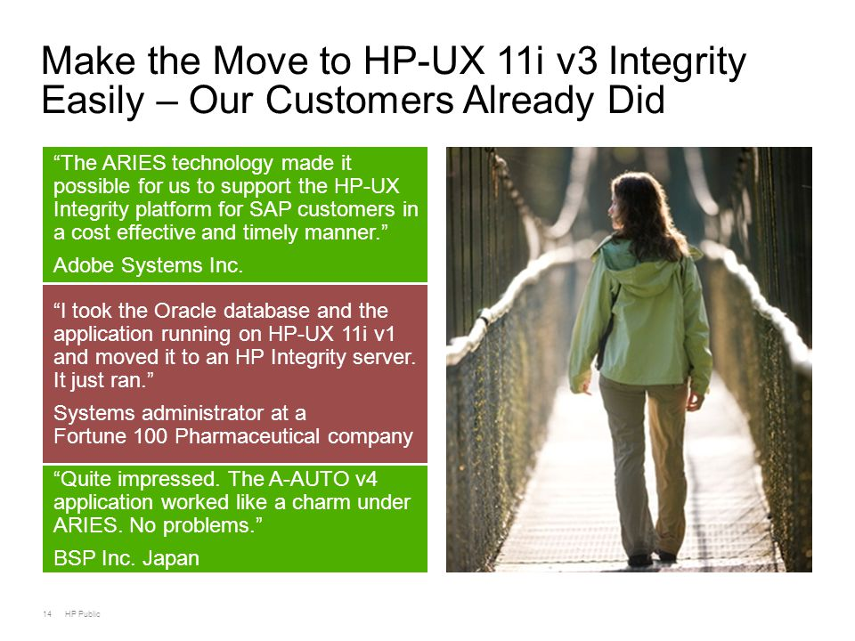 14 HP Public Make the Move to HP-UX 11i v3 Integrity Easily – Our Customers Already Did The ARIES technology made it possible for us to support the HP-UX Integrity platform for SAP customers in a cost effective and timely manner. Adobe Systems Inc.