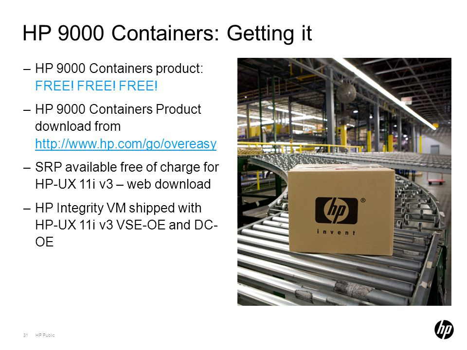 31 HP Public HP 9000 Containers: Getting it –HP 9000 Containers product: FREE! FREE! FREE! –HP 9000 Containers Product download from http://www.hp.com