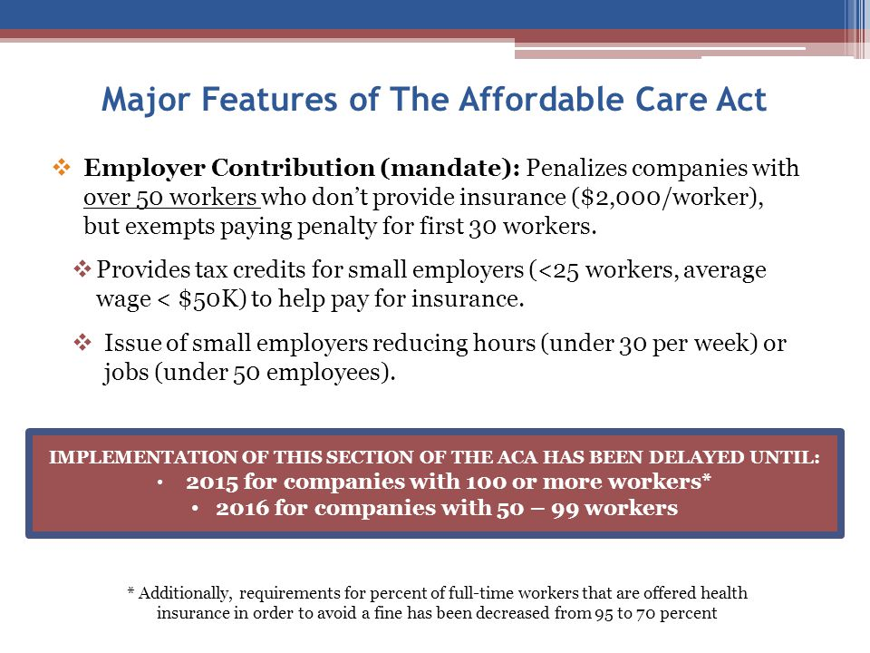  Employer Contribution (mandate): Penalizes companies with over 50 workers who don't provide insurance ($2,000/worker), but exempts paying penalty for first 30 workers.