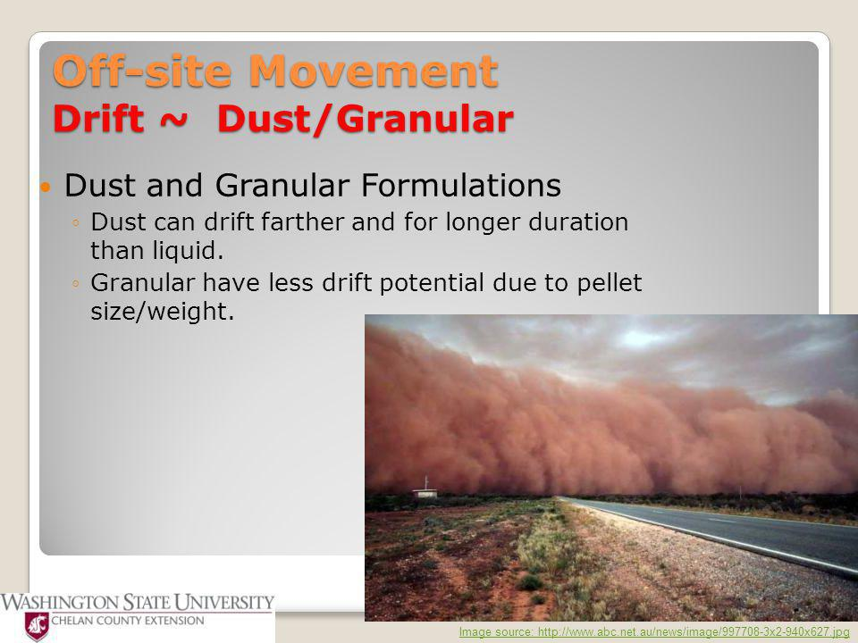 Off-site Movement Drift ~ Dust/Granular Dust and Granular Formulations ◦Dust can drift farther and for longer duration than liquid. ◦Granular have les